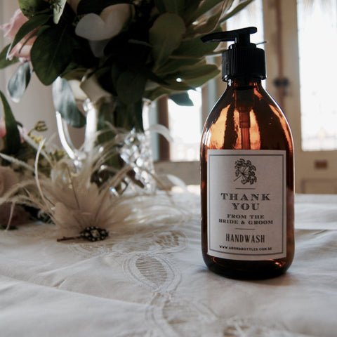 Thank you from the BRIDE AND GROOM 300ml Hand wash Bottle with Bespoke Label