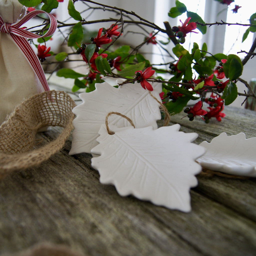 Porcelain Elm Leaf Christmas Diffuser Ornaments (triple set)