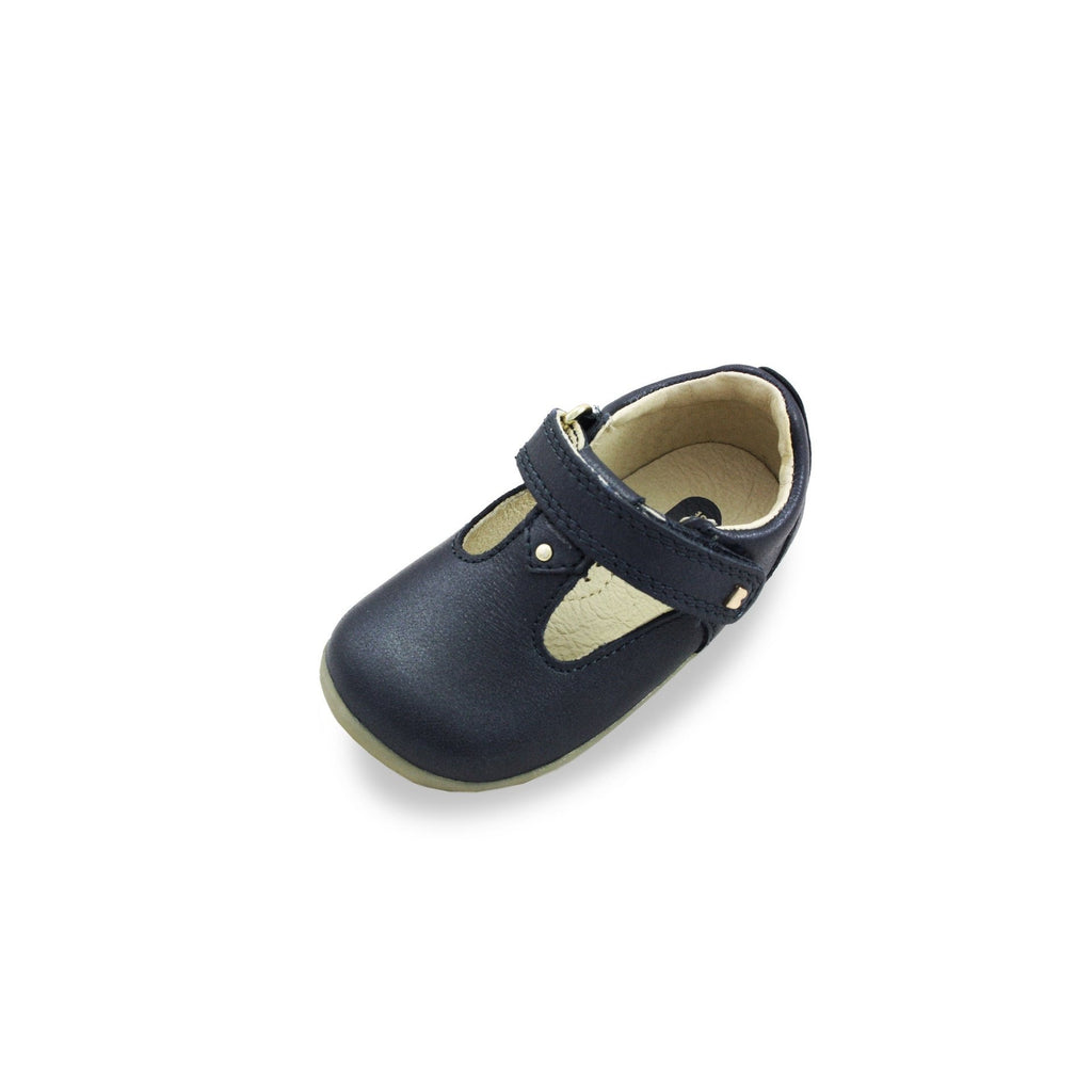 Bobux Step Up Louise Navy T-bar barefoot shoes. From Cooshoo fitted children's shoes.