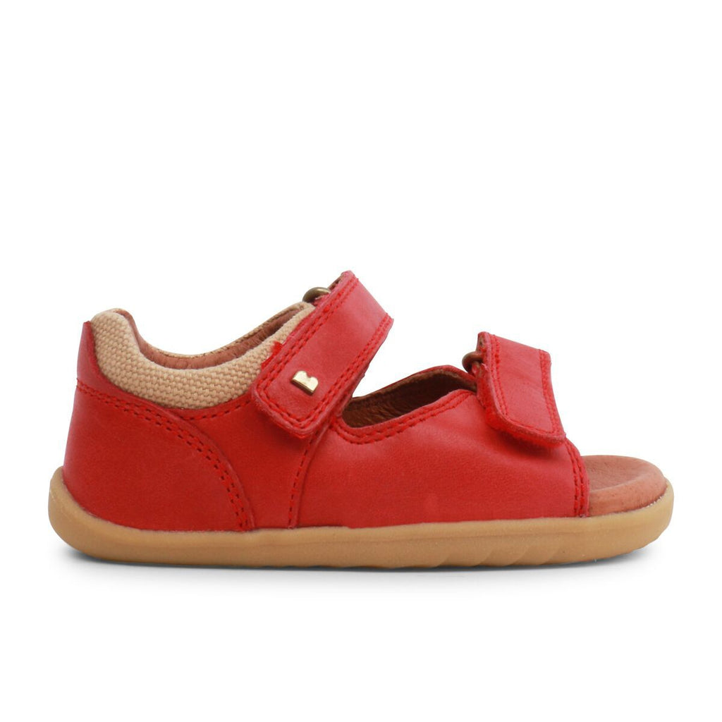Side view of Bobux Step Up Driftwood Red Open Toe Sandals, barefoot children's shoes. From Cooshoo fitted childrens shoes.