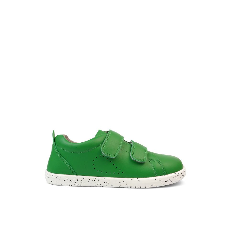 Bobux Kid+ Grass Court Emerald Green Trainer Shoes. Cooshoo kids shoes.