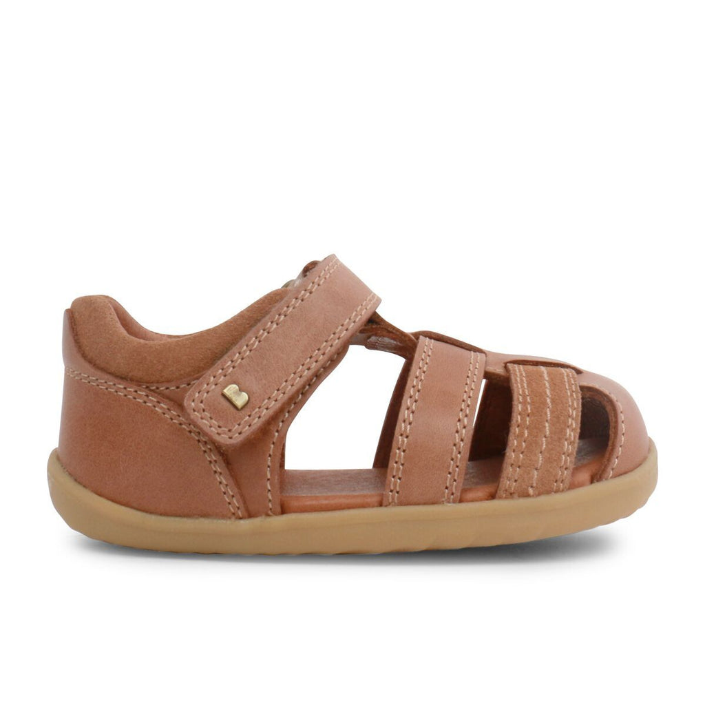 Side view of Bobux Step Up Roam Caramel Closed Sandals, barefoot children's shoes. From Cooshoo fitted childrens shoes.
