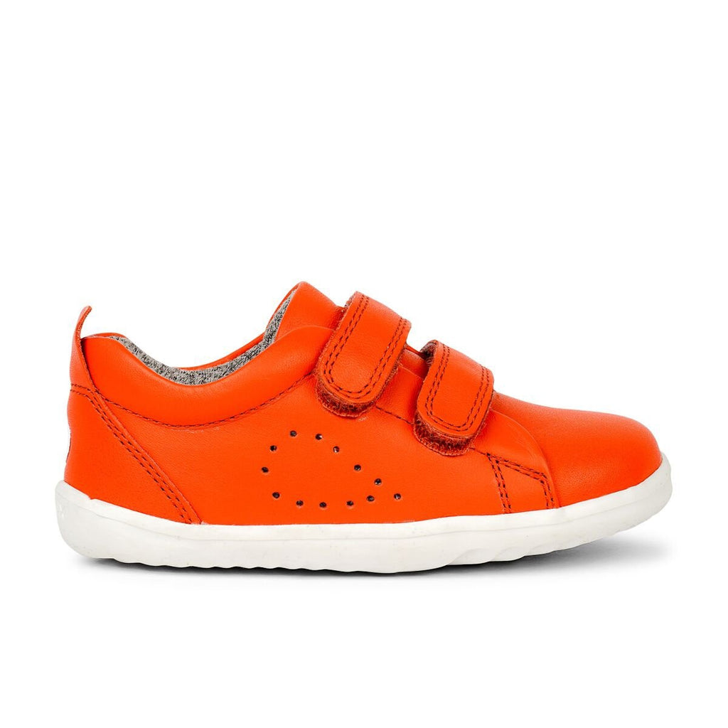 Profile of Bobux Step Up Grass Court Orange barefoot shoes. From Cooshoo kids shoes.
