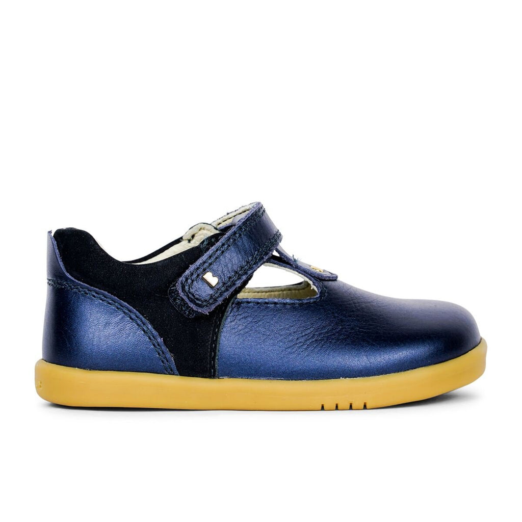 Bobux  Kid+ & I-Walk Louise Navy Shimmer T-bar barefoot kids shoes. From Cooshoo fitted childrens shoes.