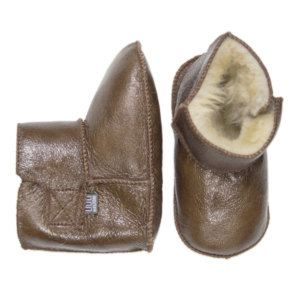 Melton Brown Lambfur Booties-Baby-Melton-Cooshoo