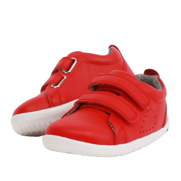 Pair of Bobux Step Up Waterproof Grass Court Red Trainer Shoes. Cooshoo children's shoes.
