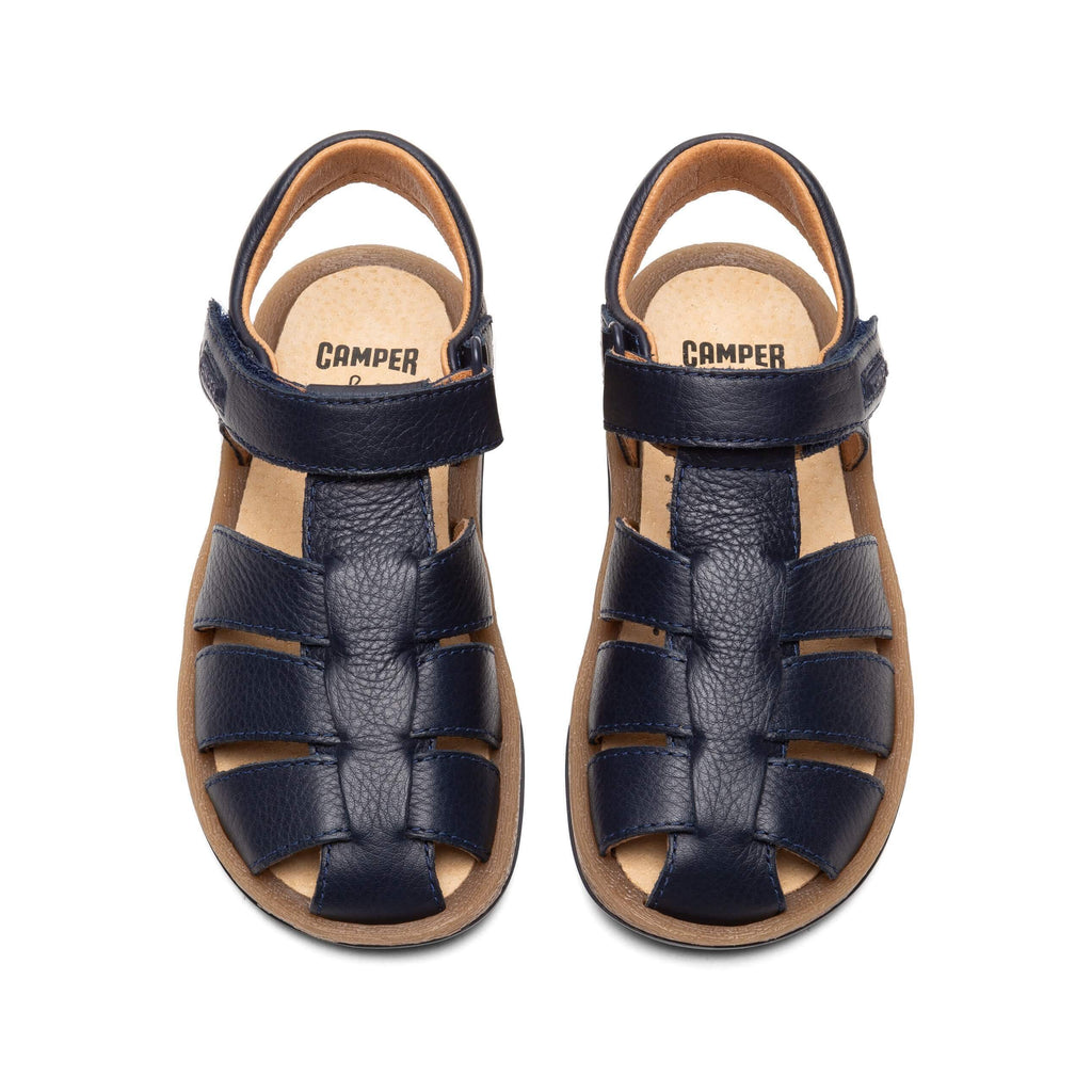 Top view of a pair of Camper Junior Sella Hypnos Navy Closed Sandals. Cooshoo kids shoes.