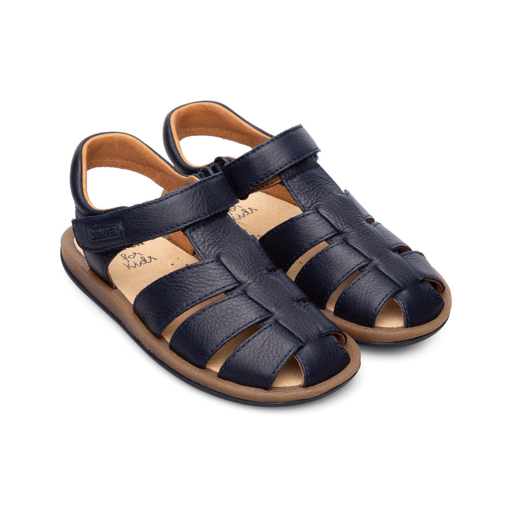 Pair of Camper Junior Sella Hypnos Navy Closed Sandals. Cooshoo kids shoes.