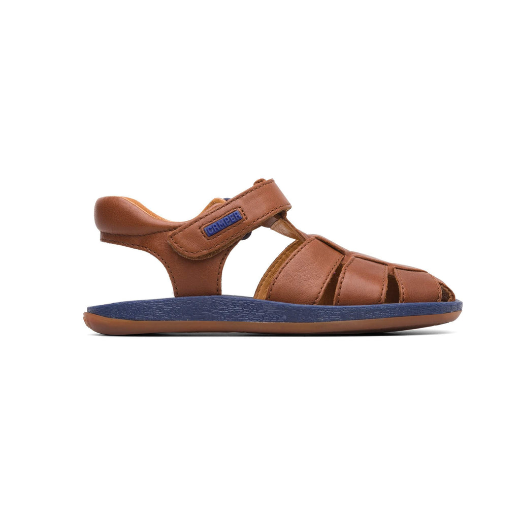 Profile of Camper Dione Race Tan Closed Sandals. Cooshoo kids shoes.