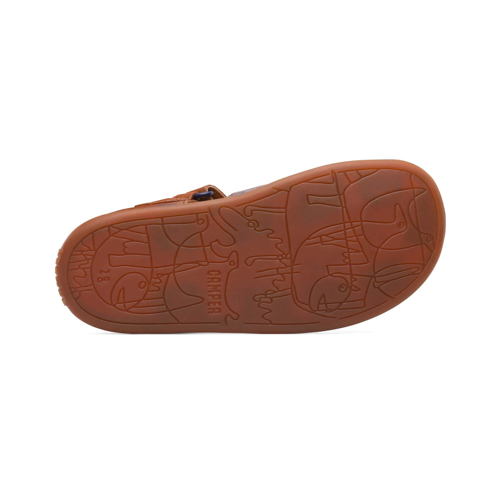 Sole of Camper Dione Race Tan Closed Sandals. Cooshoo kids shoes.