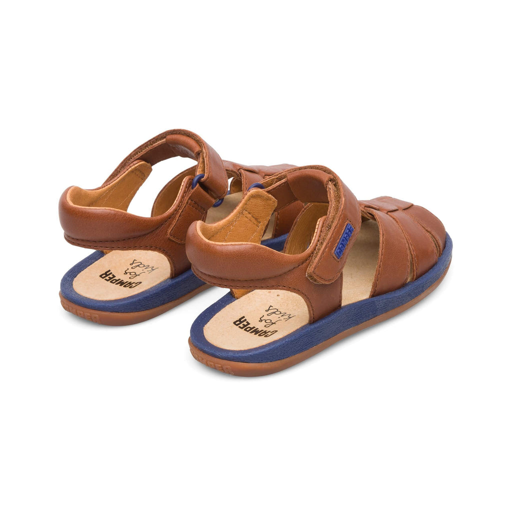 Heels of a pair of Camper Dione Race Tan Closed Sandals. Cooshoo kids shoes.
