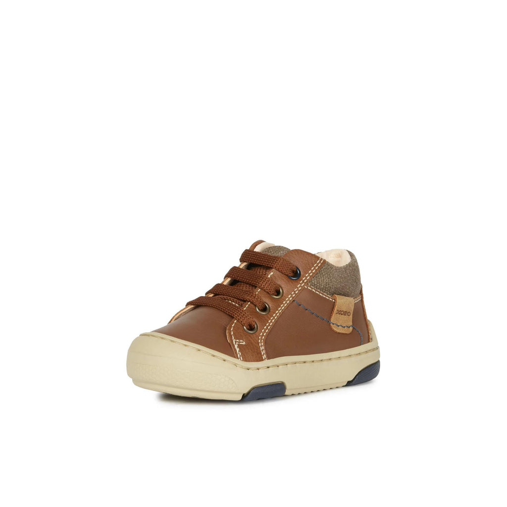 GEOX Baby Jay J Brown Low Top Trainer. Cooshoo fitted children's shoes.