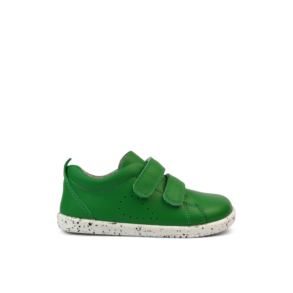 Profile of Bobux I Walk Grass Court Emerald Green Trainer Shoes. Cooshoo kids shoes.