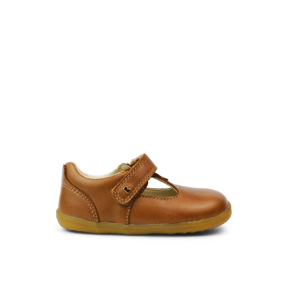 Bobux Step Up Louise Caramel T-bar barefoot shoes. Cooshoo Kids shoes.