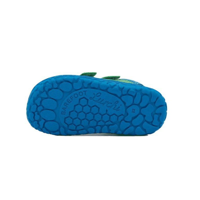 Sole of Lurchi Nevio Blue & Green Barefoot Trainer. Cooshoo Kids Shoes.