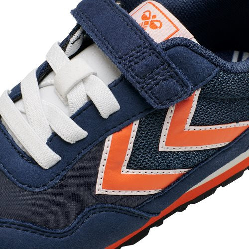 Chevrons on Hummel Reflex Junior Navy Blue & Orange Trainer. Cooshoo shoes for kids.