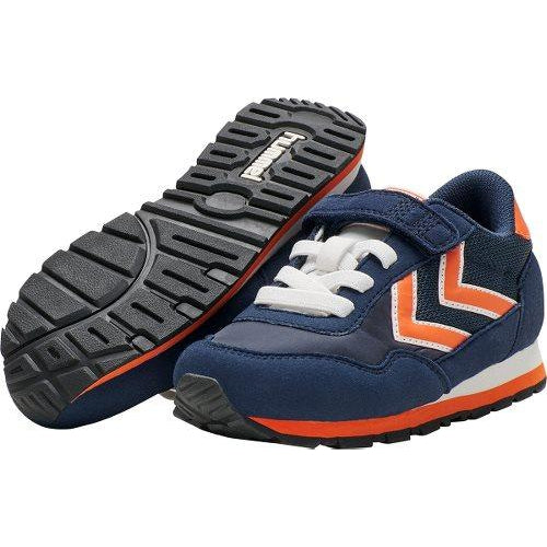 Pair of Hummel Reflex Junior Navy Blue & Orange Trainers. Cooshoo shoes for kids.