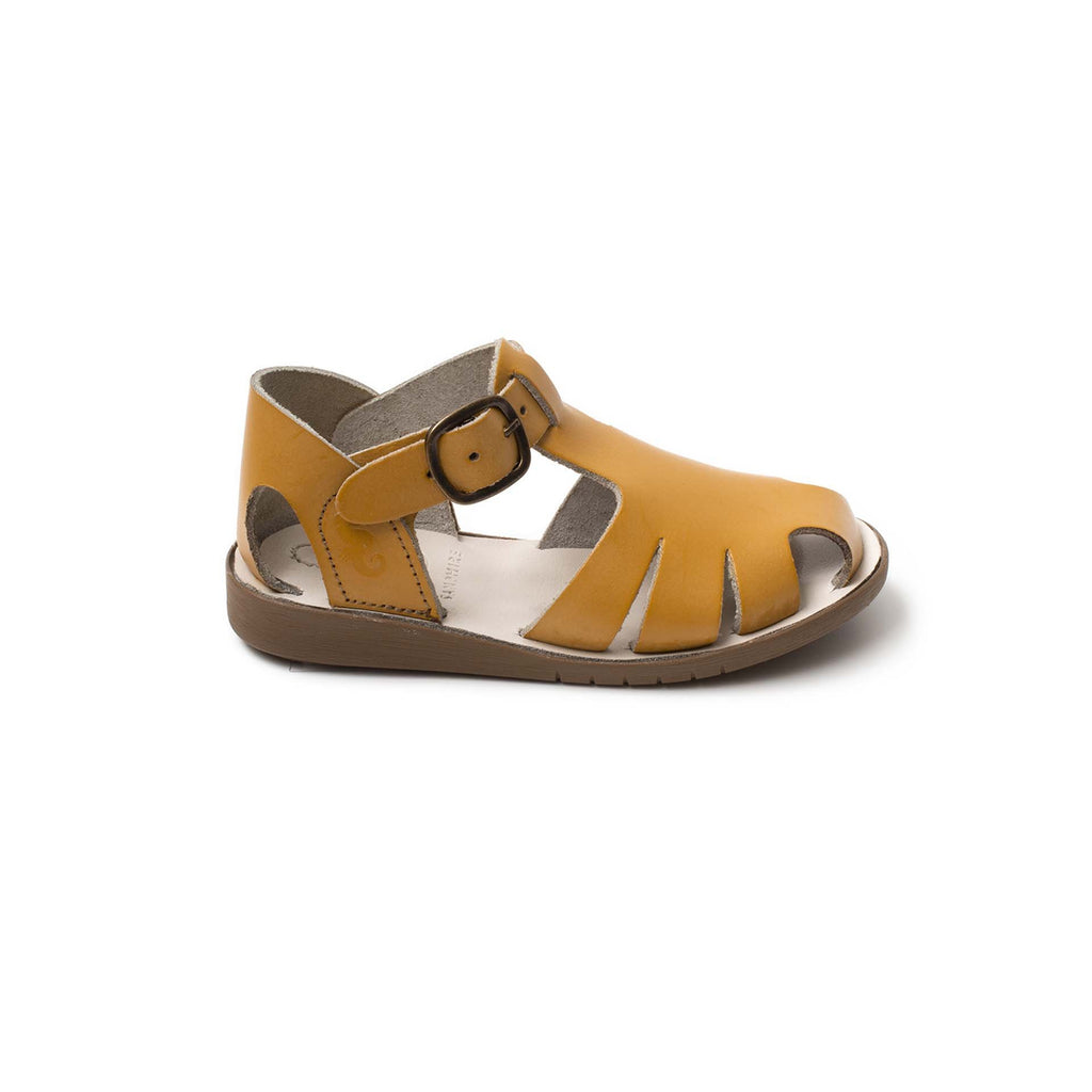 Profile of Samphire Celso Mustard Waterproof Closed-Toe Sandals. From Cooshoo kids shoes.