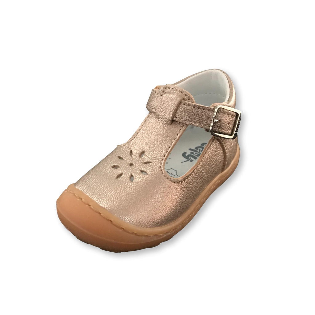 Bopy Japan Metallic Gold T-Bar Shoes. Cooshoo kids shoes.