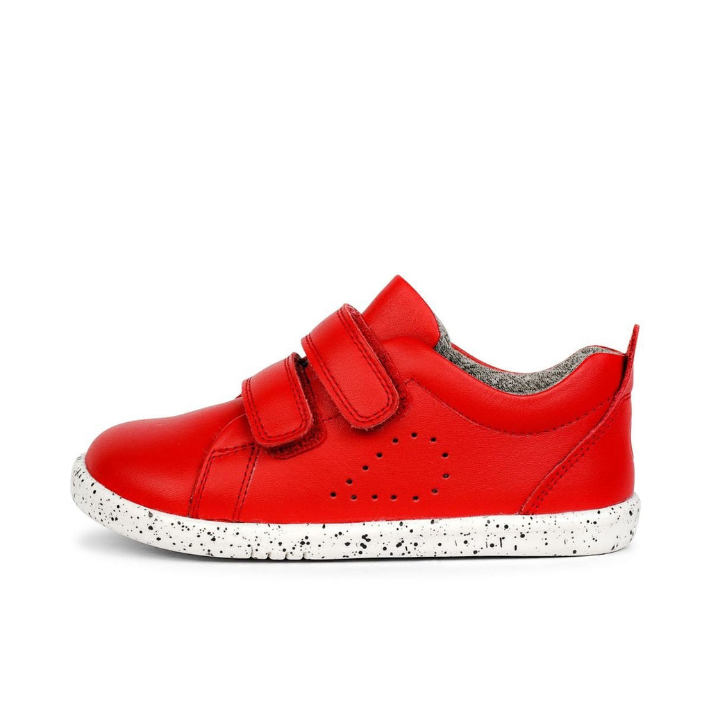 Profile of Bobux  I-Walk Grass Court Red Trainer. Cooshoo children's shoes.