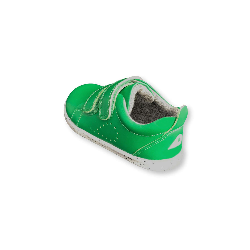 Heel of Bobux I Walk Grass Court Emerald Green Trainer Shoe. Cooshoo kids shoes.