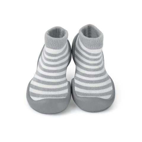 Step Ons Grey Stripe Sock Shoes. From Cooshoo fitted children's shoes.