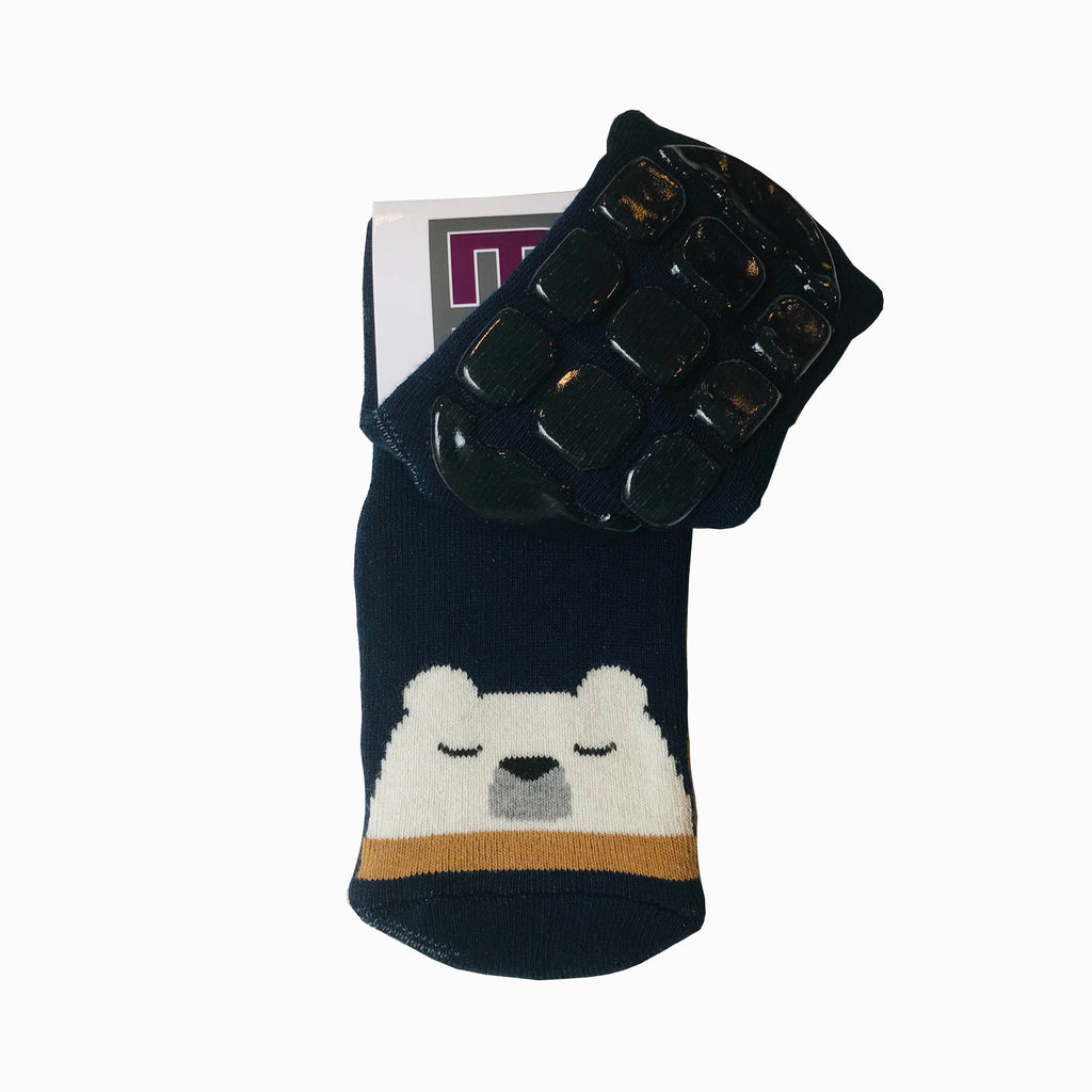 Melton Navy Blue Sleeping Bear Slipper Socks. Cooshoo kids shoes.