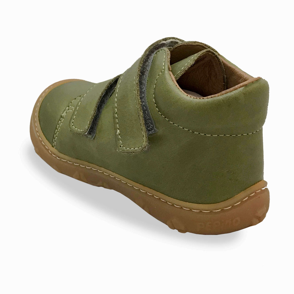 Heel of Ricosta Chrisy Leaf Green Low-top Boots. Cooshoo kids shoes.