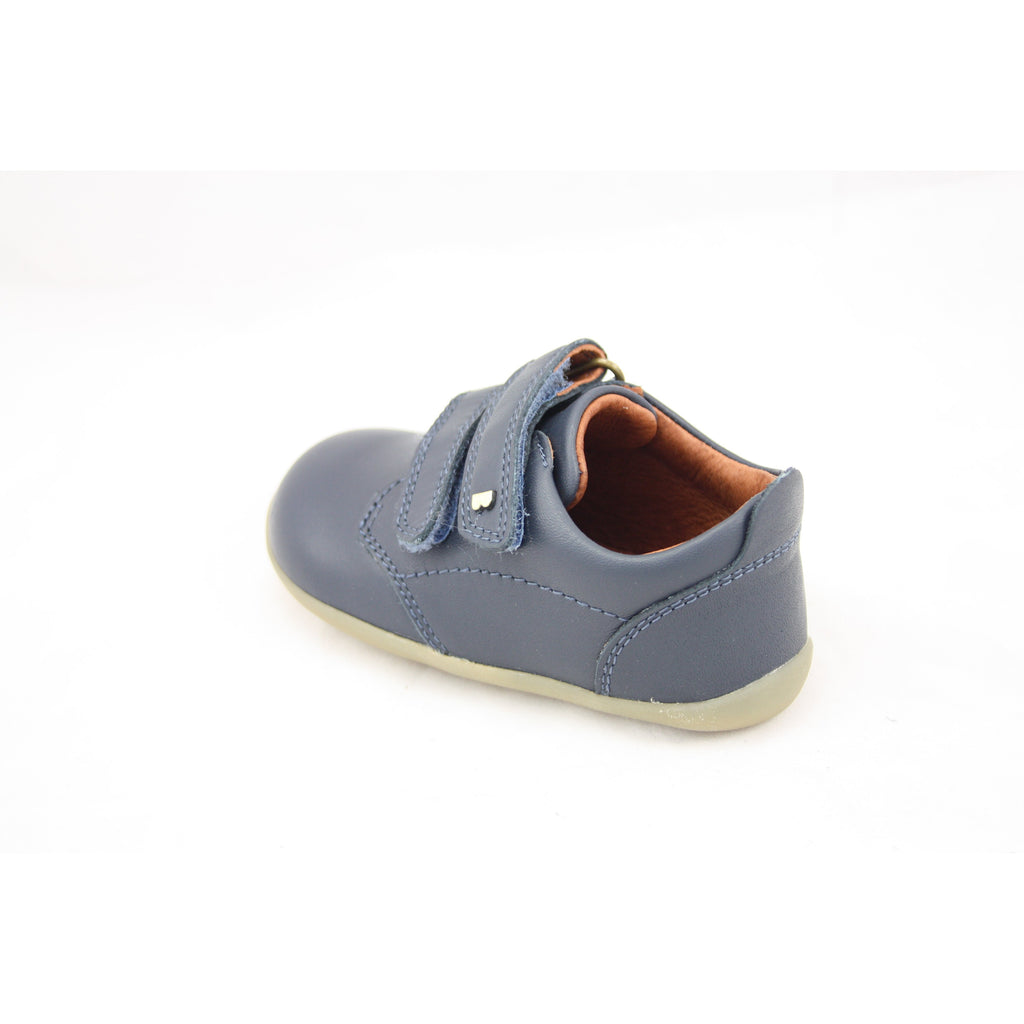 Heel view of Bobux Step Up navy Port Kids Shoes. From Cooshoo fitted childrens shoes.