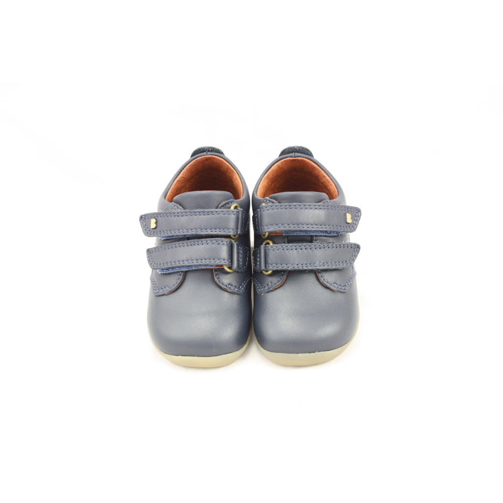 Pair of Bobux Step Up navy Port Kids Shoes. From Cooshoo fitted childrens shoes.