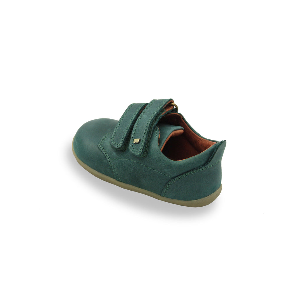 Bobux SU Forest Green Port barefoot children's shoes. From Cooshoo fitted childrens shoes. Back image.