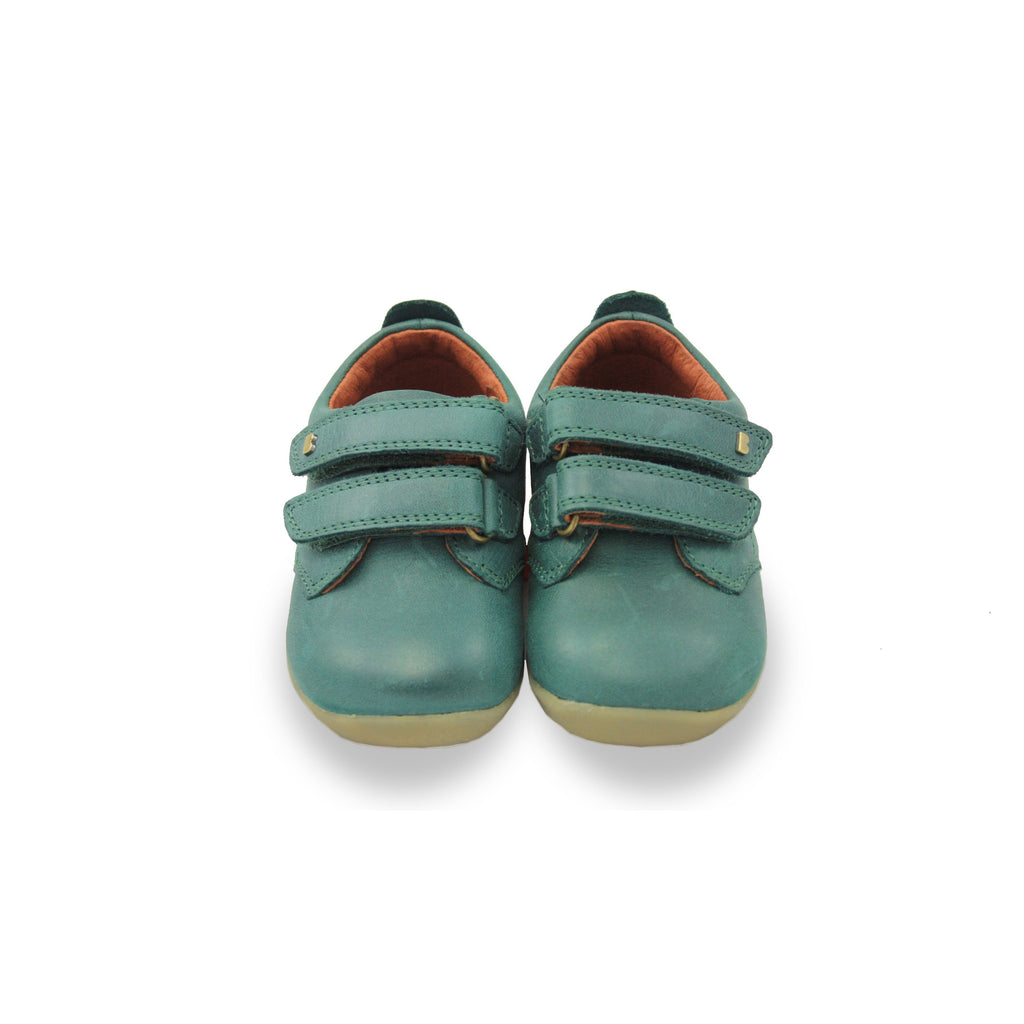 Bobux SU Forest Green Port barefoot children's shoes. From Cooshoo fitted childrens shoes. Double image.