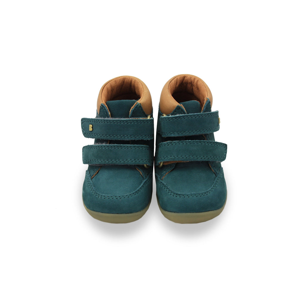 Bobux SU Airforce Blue Timber shoes. From Cooshoo fitted childrens shoes. Double image.