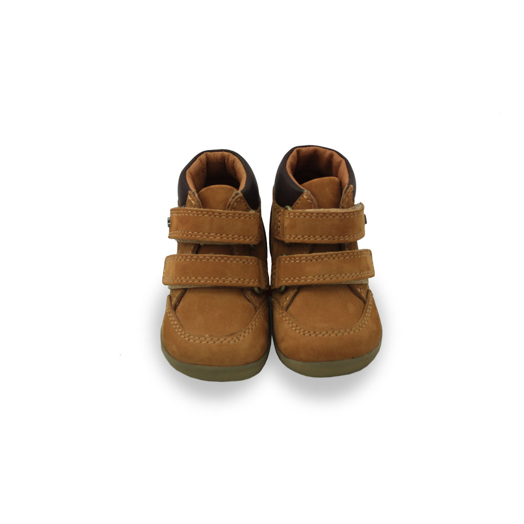 Pair of Bobux Step Up Mustard Timber barefoot kids boots. From Cooshoo fitted childrens shoes