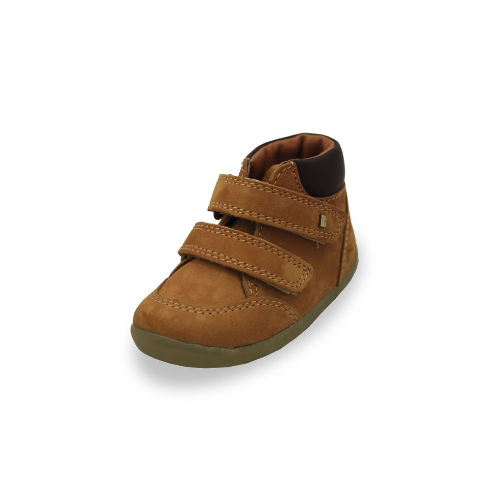 Bobux Step Up Mustard Timber barefoot kids boot. From Cooshoo fitted childrens shoes.