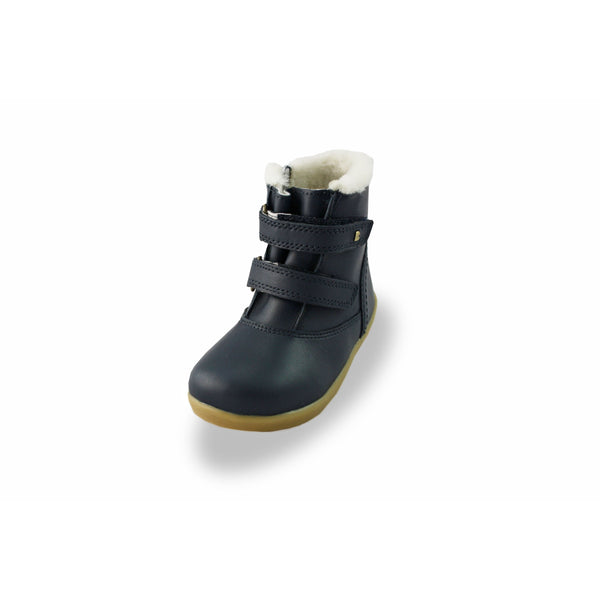 Bobux IW Aspen Navy Fur-lined Waterproof barefoot boots. From Cooshoo fitted childrens shoes.