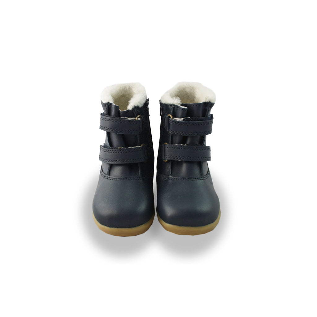 Bobux IW Aspen Navy Fur-lined Waterproof barefoot boots. From Cooshoo fitted childrens shoes. Double View.