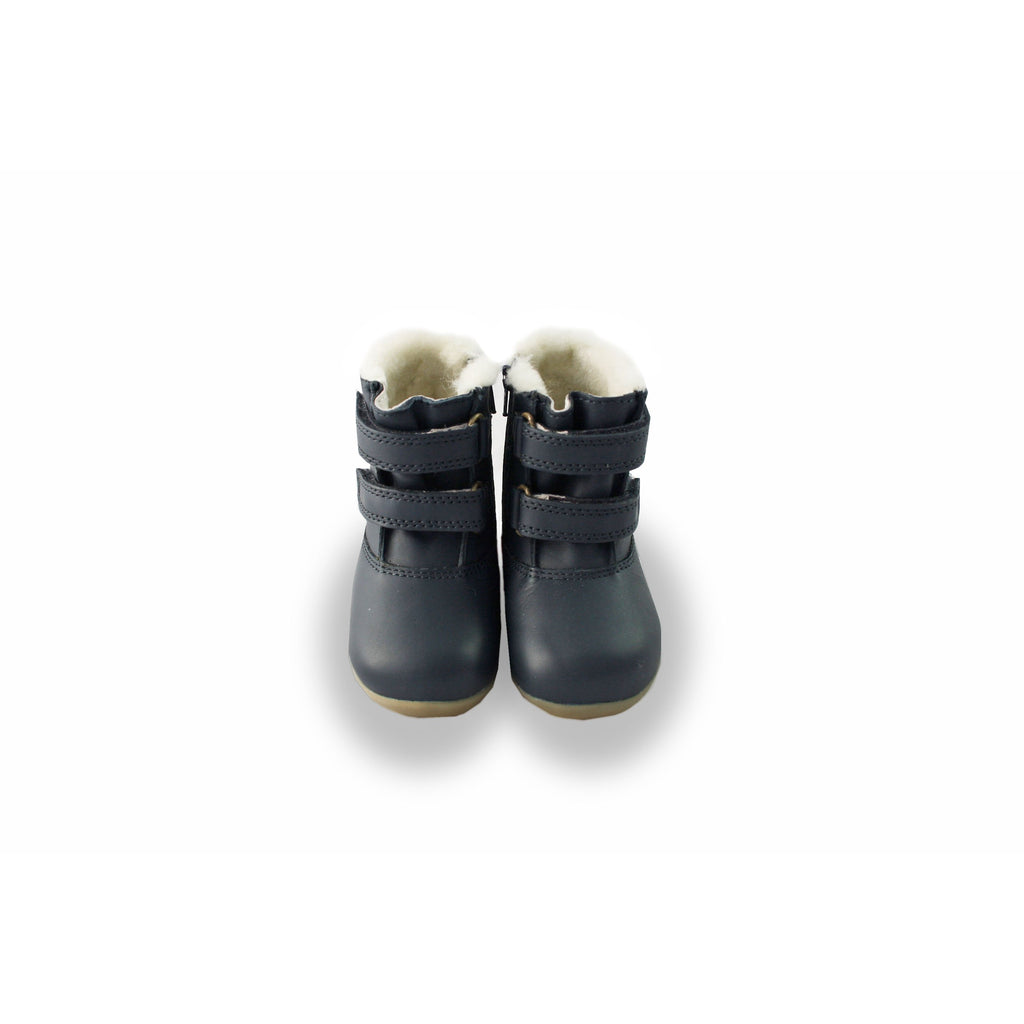 Pair of Bobux Step-Up Aspen Navy Fur-lined Waterproof barefoot boots. From Cooshoo fitted childrens shoes.