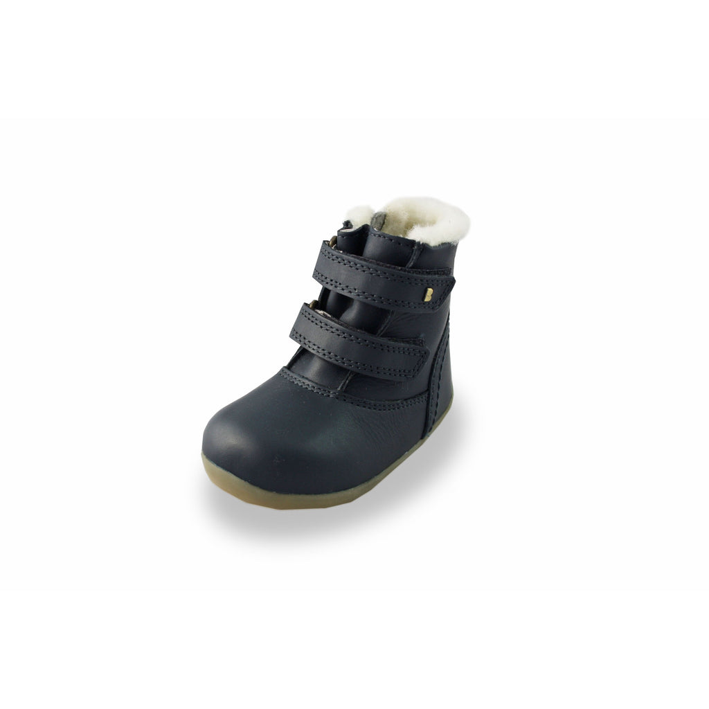 Bobux SU Aspen Navy Fur-lined Waterproof barefoot boots. From Cooshoo fitted childrens shoes.