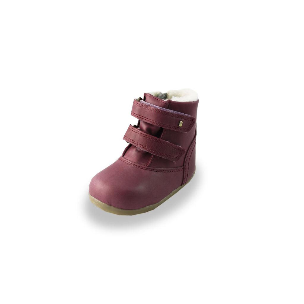 Bobux Step-Up Aspen Plum Fur-lined Waterproof barefoot boot. From Cooshoo fitted childrens shoes.