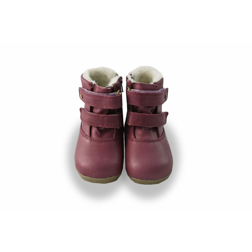 Pair of Bobux Step-Up Aspen Plum Fur-lined Waterproof barefoot boot. From Cooshoo fitted childrens shoes.