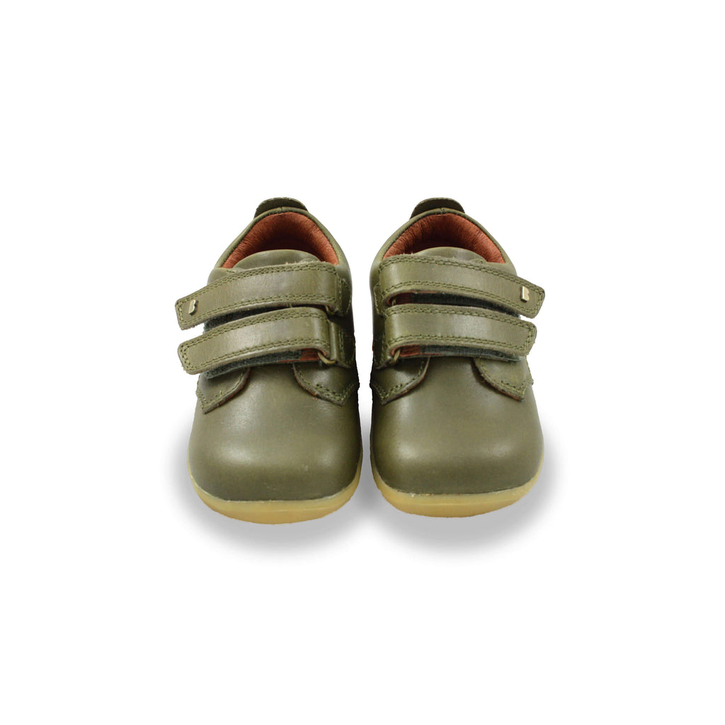 Pair of Bobux Step Up olive green Port Kids Shoes. From Cooshoo fitted childrens shoes.