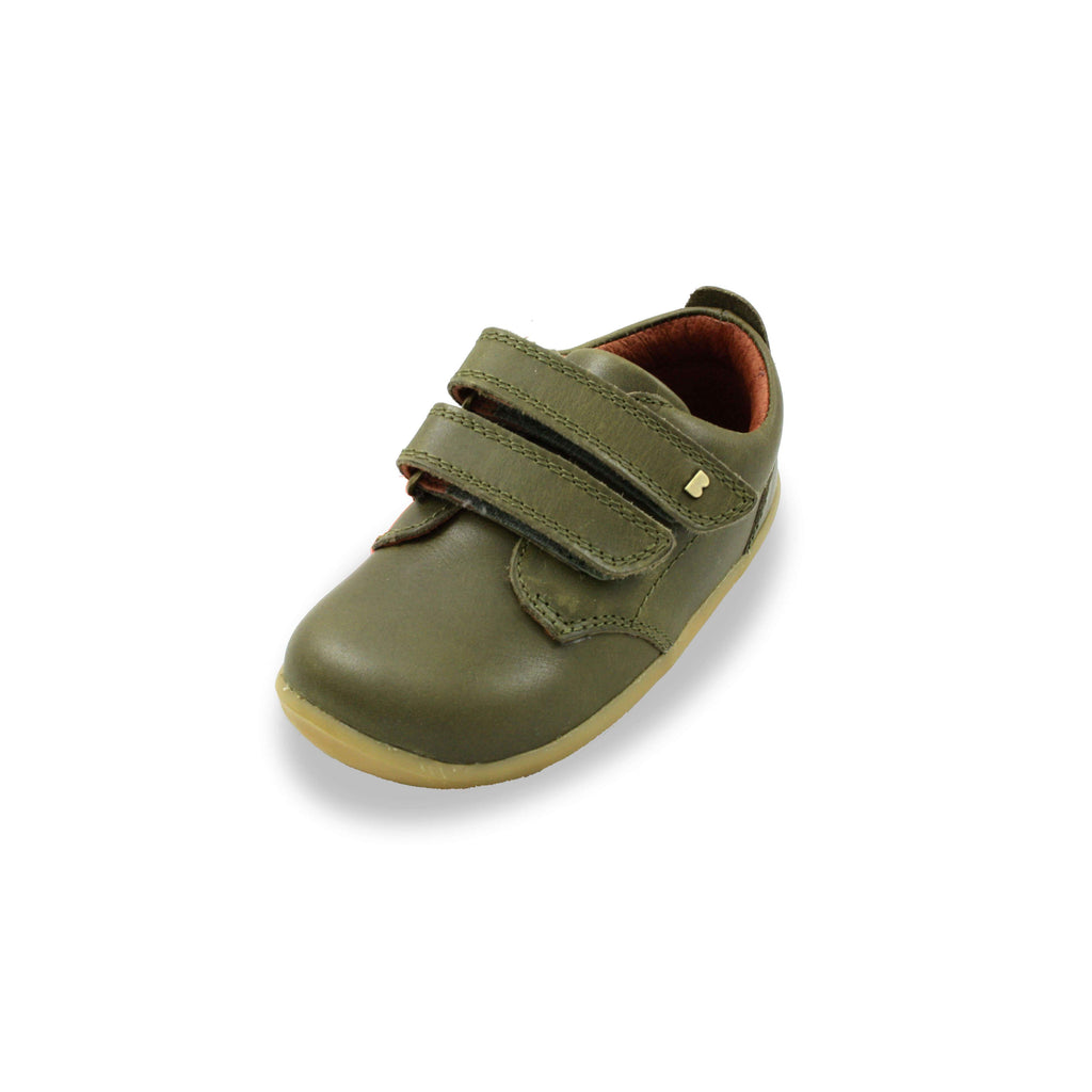 Bobux Step Up olive green Port Kids Shoes. From Cooshoo fitted childrens shoes.