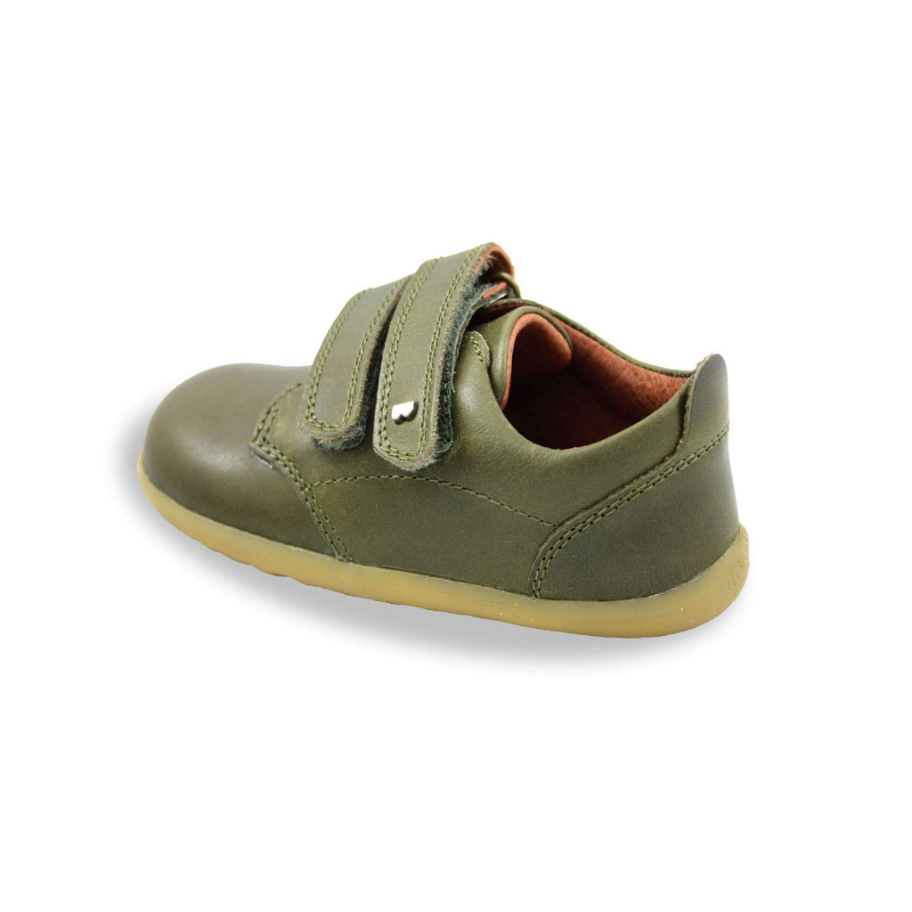 Bobux Step Up olive green Port Kids Shoes. From Cooshoo fitted childrens shoes. Heel view.