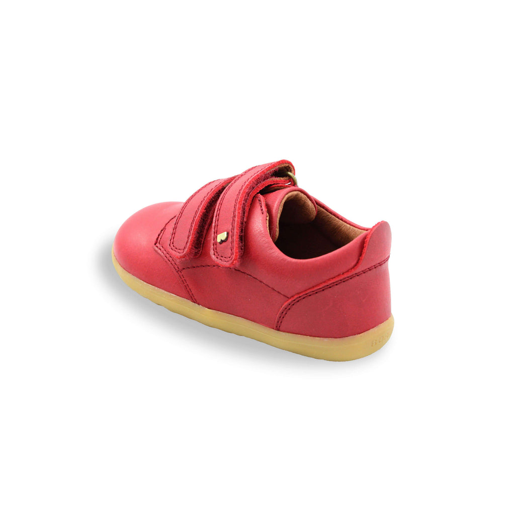 Heel of Bobux Step Up Port Rio Red Barefoot Kids Shoes. From Cooshoo fitted childrens shoes.