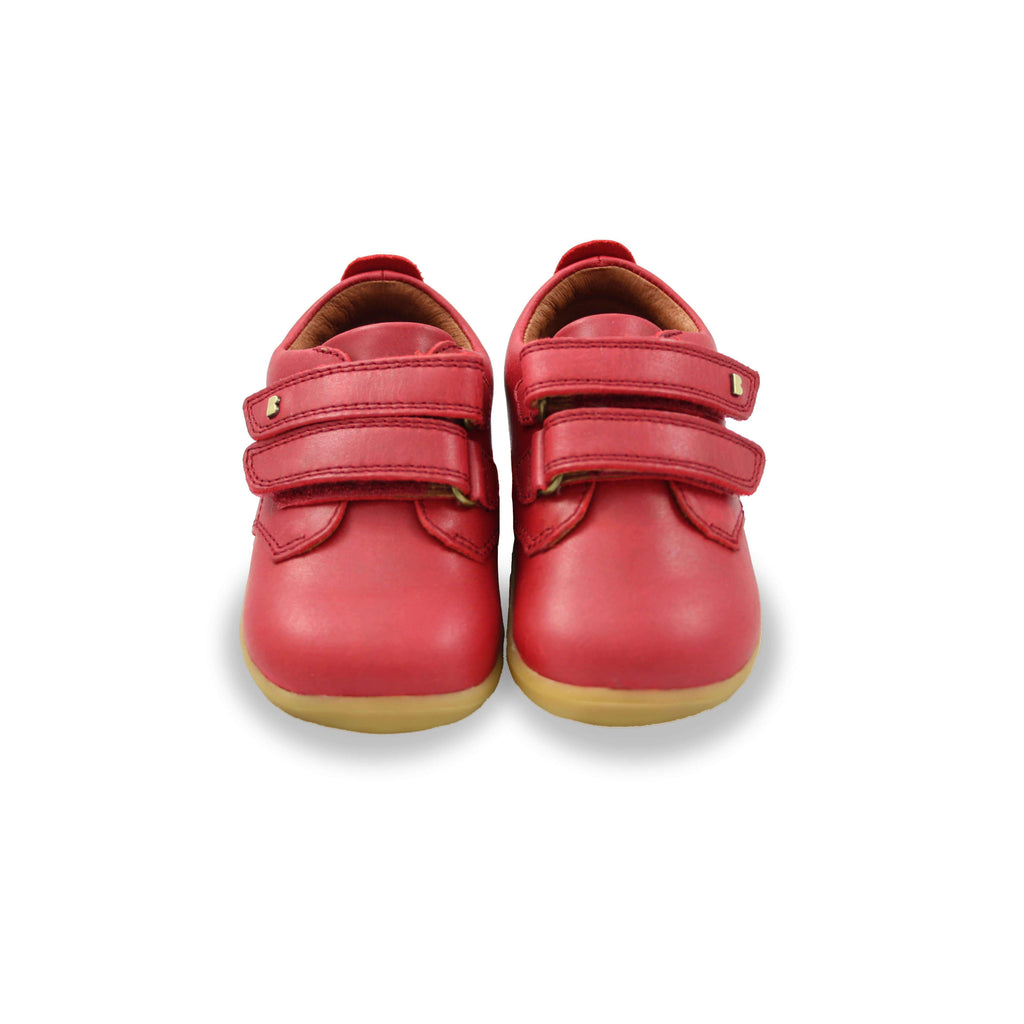 Pair of Bobux Step Up Port Rio Red Barefoot Kids Shoes. From Cooshoo fitted childrens shoes.