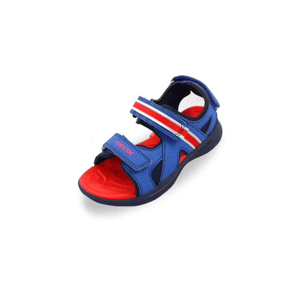 GEOX J Gleeful Blue and Red Sandals children's shoes. From Cooshoo fitted kids shoes.