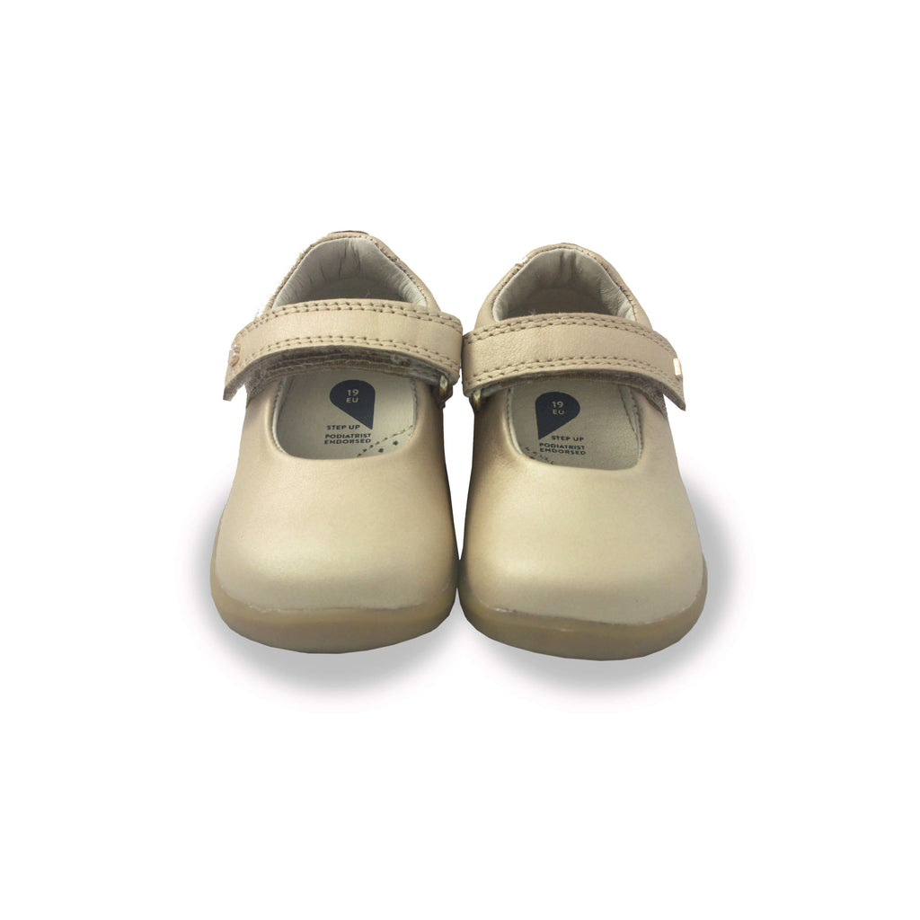 Pair of Bobux Step Up Delight gold mary-jane barefoot children's shoes. From Cooshoo fitted childrens shoes.