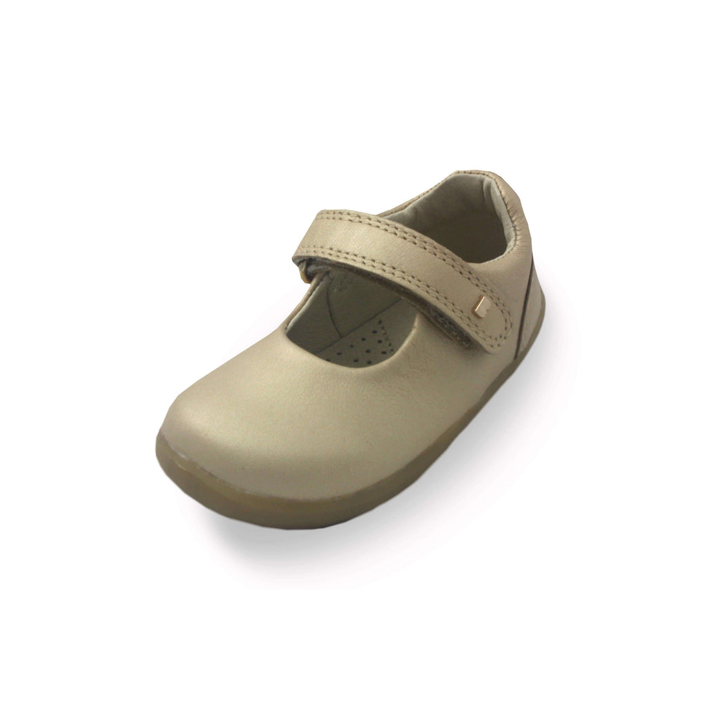 Bobux Step Up Delight gold mary-jane barefoot children's shoes. From Cooshoo fitted childrens shoes.