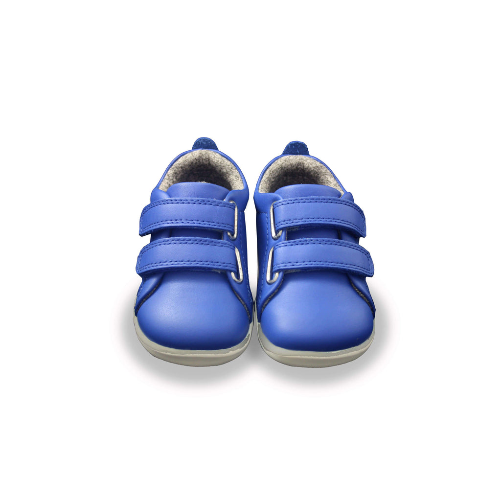 Pair fo Bobux Step Up Grass Court Sapphire Blue barefoot children's shoes. From Cooshoo kids shoes.